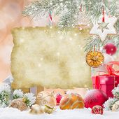 Abstract Christmas background with old blank paper.
