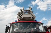 stock photo of fire brigade  - Fire truck is a motor vehicle chassis equipped with fire fighting equipment equipment used in fire - JPG