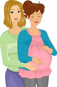 Illustration Featuring a Doula Assisting a Pregnant Woman