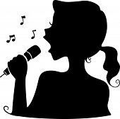 pic of singer  - Illustration Featuring the Silhouette of a Female Singer - JPG