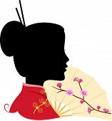 Illustration Featuring the Silhouette of a Chinese Woman