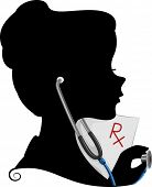 Illustration Featuring the Silhouette of a Doctor