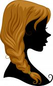 Illustration Featuring the Silhouette of a Girl Wearing a Braid