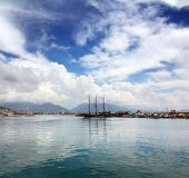 bay with boats and yachts in Alanya Turkey