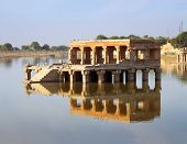 old palace on lake ruins in Jaisalmer India