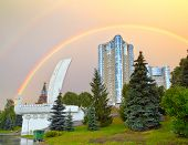 Monument Boat or Shallop on the waterfront of Samara city in Russia against rainbow