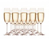 Group of champagne glasses isolated on white background