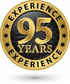 95 Years Experience Gold Label, Vector Illustration