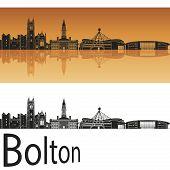 Bolton Skyline In Orange Background