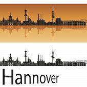 Hannover Skyline In Orange Background