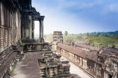 Angkor Wat Temple Near  Siem Reap In  Cambodia.