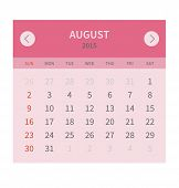 Calendar monthly august 2015 in flat design