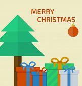 Christmas card with christmas presents