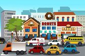 picture of morning  - A vector illustration of busy city in the morning - JPG