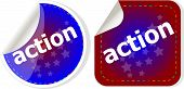 Action Stickers Set, Icon Button Isolated On White