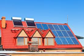 stock photo of solar battery  - contemporary energy - JPG