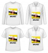 stock photo of jawi  - Four designs of shirts with Brunei flag - JPG
