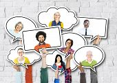 foto of diversity  - Diverse Diversity Ethnic Ethnicity Brick Brick Wall Unity Concept - JPG