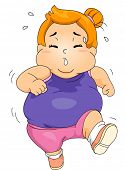 picture of obesity children  - Illustration of an Obese Girl Sweating Profusely While Jogging - JPG