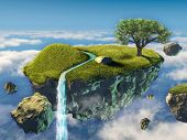 stock photo of floating  - Small island floating in the sky - JPG
