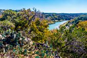 picture of bluff  - View Of The Texas Pedernales River From A High Bluff.  With Fall Foliage. ** Note: Soft Focus at 100%, best at smaller sizes - JPG