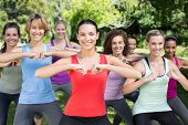 pic of squatting  - Fitness group squatting in park on a sunny day - JPG