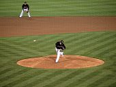 Athletics Henry Rodriguez Throws Pitch, Ball Moving In Air