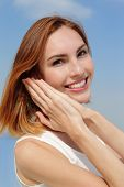 picture of charming  - Charming smile happy woman. She have health teeth and skin great for dental care and skin care concept. caucasian beauty ** Note: Visible grain at 100%, best at smaller sizes - JPG
