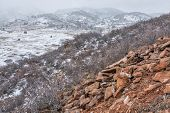pic of collins  - snowstorm over Rocky Mountains foothills - JPG