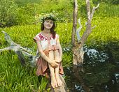 foto of undine  - girl in russian traditional clothes in lake - JPG
