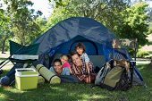 picture of tent  - Happy family on a camping trip in their tent on a sunny day - JPG