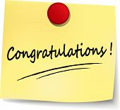 picture of congratulation  - illustration of congratulations yellow note on white background - JPG