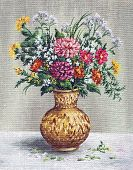 stock photo of vase flowers  - Picture Oil Painting on a Canvas - JPG