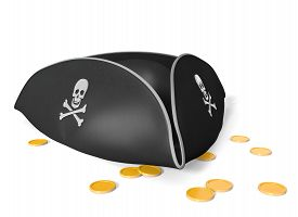 pic of skull crossbones  - Black leather pirate hat with classic skull and crossbones - JPG