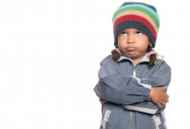 image of rap-girl  - Angry little multiracial girl isolated on a white background - JPG