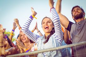foto of gathering  - Excited music fans up the front at a music festival - JPG