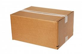 foto of text-box  - A genuine Cardboard Box isolated on white with room for your text - JPG