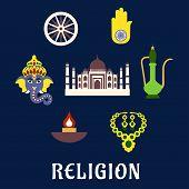 stock photo of hand god  - Indian religion and culture flat symbols with Ganesha God - JPG