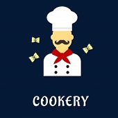 picture of tunic  - Cookery concept in flat style with male chef with retro curled mustache in professional uniform toque - JPG