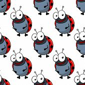 image of red back  - Cute cartoon ladybug characters with red spotted backs seamless pattern for fabric or wallpaper design - JPG