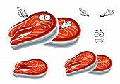 foto of salmon steak  - Fresh red salmon steak cartoon character with silver skin and happy face - JPG