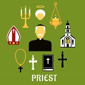image of priest  - Priest profession flat concept with catholic priest in black robe - JPG