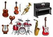 picture of drum-set  - Funny cartoon musical instruments characters with upright piano - JPG