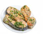 image of salmon steak  - grilled salmon steaks on the plate - JPG