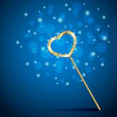 pic of faerie  - Golden magic wand with heart on blue background - JPG