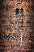 image of freedom tower  - Rapunzel Fairy Tale a long blond hair plait hanging out of the window of an old brick tower - JPG