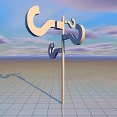 picture of surreal  - question marks abstract surreal background 3d render illustration - JPG
