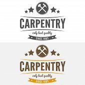 Vintage logo, label, badge and logotype elements for sawmill, carpentry or woodworkers poster