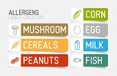 stock photo of corn  - Vector label set for allergens  - JPG