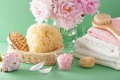 image of bath sponge  - bath and spa with peony flowers brush sponge towels - JPG